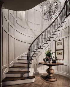 Traditional dark wood staircase design Treatment Projects Care Design home decor Staircase Railings, Curved Staircase, Stairways, Spiral Staircases, Grand Staircase, Winding Staircase, Bannister, Railing Design, Staircase Design