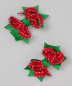 Take a look at this Red Saddle Stitch Christmas Mini Bow Clip Set by Festive Fifi on #zulily today!