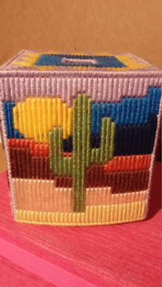 Cactus tissue box cover by CunninghamCrafts on Etsy