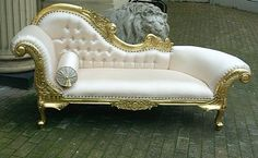 The Rococo Chaise Longue Gold Leaf & Oyster Silk £699.00 - Seating - Chaise Longue Chateau Luxury Furniture And Mirrors, Rococo, Reproductio...