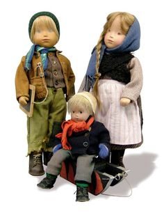 A trio of Studio dolls handmade by the artist, Switzerland, 1950s-60s, by Sasha Morgenthaler.  The boy doll to the left would later be sourced as inspiration for the 1990s limited edition doll Alberto, by Götz of Germany.
