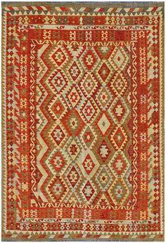 """KILIM HERAT 292x200. Alfombra Kilim Herat. Kilim Herat. Kilim anudado a mano con lana autóctona por las tribus """"turkemanas"""" en el norte de Afganistán. Los diseños utilizados son bellas estilizaciones de formas tradicionales como el """"boteh"""", octogonos, rombos engarzados..."""