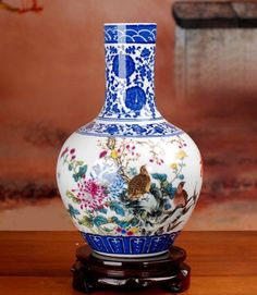 All Decor Fine Porcelain Asian Style Decorative Vase 21 X 21 X 32 Cm Height, Made in Jingdezheng, with Rotate Wooden Base * Find out more about the great product at the image link. (This is an affiliate link) #Vases