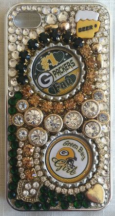 Green Bay Packer iPhone 4/4S bling cell by KitnKaboodleKrafts, $30.00