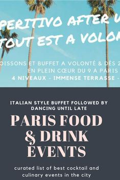 Italian style cocktail hour with a free buffet running until 9pm followed by dancing until late.  #paris #cocktails #events #dancing #nightlife #drinks #apero #aperitif #aperitivo #buffet @avolonte