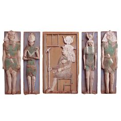 A Set Of Five Carved Wood Panels   From a unique collection of antique and modern wall-mounted sculptures at http://www.1stdibs.com/furniture/wall-decorations/wall-mounted-sculptures/