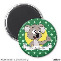 Koala bear cartoon 2 inch round magnet