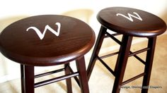 DIY monogrammed bar stools! re paint bar stools, stencil on your initial or design and you have a brand new bar stool, for under $6