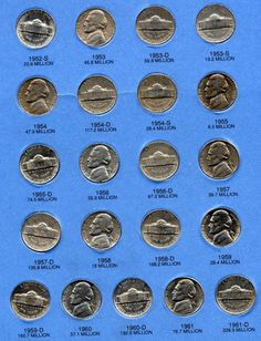 Jefferson Nickel Folder Collection Wartime War Nickels U. Valuable Pennies, Valuable Coins, Old Coins Worth Money, Old Coins Value, Coin Display, Coin Worth, Error Coins, Coin Values, Coin Grading