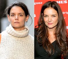 Katie Holmes  On left: running errands in New York City on Oct. 11, 2012  On right: posing at Narciso Rodriguez Kohl's Collection launch party in New York City on Oct. 22, 2012