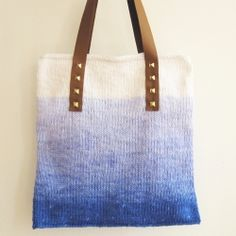 Make this ombre dyed cotton bag with leather straps held on with studs!