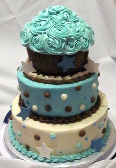 Butter Cream Polka Dot Cake with Giant Cupcake Smash Cake