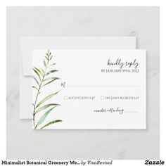 Shop Minimalist Botanical Greenery Wedding RSVP Card created by VivaRevival. Green Spring Wedding, Summer Wedding, Minimalist Invitation, Invitation Design, Invitations, Modern Wedding Inspiration, Watercolor Artwork, Wedding Rsvp, Response Cards