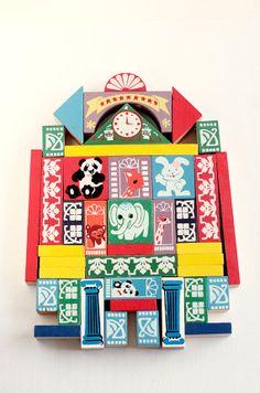 Vintage Building Set. Wood game pieces. by verikoko on Etsy, $30.00