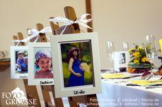 Platzkarten mal anders: als Namenskarten dienen Bilderrahmen mit Fotos der Gäste, für Hochzeit, Taufe, Konfirmation ...