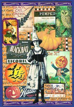A Nostalgic Halloween: Sunday Postcard Art Challenge - Orange/Black/Purple/Green