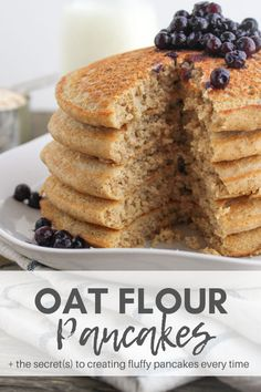 Oat Flour Pancakes by Chef Julie Harrington, RD These fluffy whole grain oat flour pancakes perfect fit for any pancake enthusiast! Get the secret(s) to create fluffy pancakes! #pancakes #glutenfree #breakfast #brunch #homemade #oats #oatflour #wholegrain @ChefJulie_RD