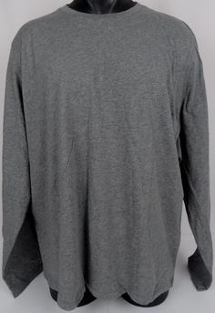 BONOBOS Crew Neck T-Shirt Regular Fit Mens XXL Long Sleeve Crew Neck Gray Cotton #Bonobos #CrewneckBasic