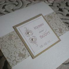 Beaufort - Ivory & Gold Wedding Invitation. Swarovski Pearls. www.vivipaperie.co.uk