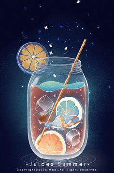在一个水果口味的梦里,我随风摇曳 - 站酷 (ZCOOL) 移动版 Japon Illustration, Cute Illustration, 8bit Art, Beautiful Gif, Aesthetic Gif, Kawaii Art, Cute Gif, Galaxy Wallpaper, Pretty Art