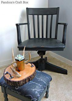 chalk paint, Banker's chair, tutorial, DIY