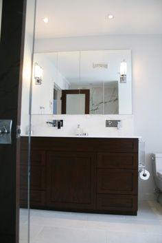 Bathroom remodel modern bathroom,dark cabinet and light floors