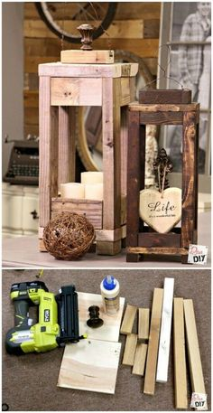 22 Most Simple and Beautiful Reclaimed Wood Christmas Decorations – Christmas DIY - Decor - Cards Into The Woods, Diy Y Manualidades, Wooden Lanterns, Dyi Lanterns, Decorative Lanterns, Large Lanterns, Lantern Centerpieces, Navidad Diy, 242