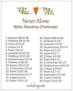 Never alone Bible reading plan Bible Study Plans, Bible Plan, Bible Study Tips, Bible Study Journal, Daily Bible Reading Plan, Bible Lessons, Math Lessons, Bible Prayers, Bible Scriptures