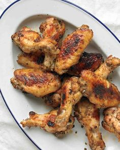 Emeril's Oven-Roasted Chicken Wings - Trena left out the cayenne and the thyme and when it came out of the oven she dipped them in Frank's mixed with butter.