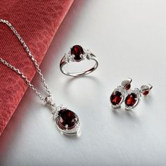 Solid 18K White Gold Real Diamond Garnet Bridal Wedding Jewelry Sets, View Bridal Jewelry Sets, First Lady Product Details from Guangzhou First Lady Jewelry Co., Ltd. on Alibaba.com