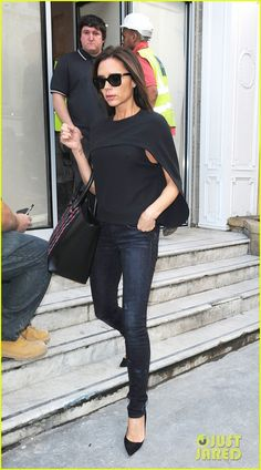 Victoria Beckham checking the progress on her new store in London.Love the cape.