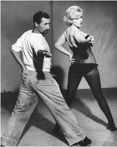 "With choreographer and dance coach Jack Cole during the production of ""Let's Make Love"", 1960"