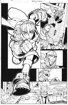 This is a page from the one issue of Battle Chasers I did with Joe. When Joe decided to leave the X-Men to pursue his dream, I had the opportunity to go. Battle Chasers page 5 Comic Book Layout, Comic Book Pages, Comic Book Artists, Comic Books Art, Comic Art, Book Layouts, Animation Storyboard, Animation Reference, Drawing Reference