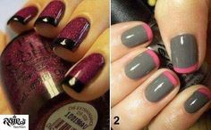 gray and maroon nail tips