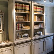 Outstanding 1930s French Painted Bookcase in the Louis XVI taste.