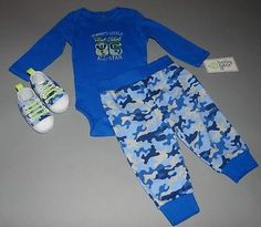 Baby boy clothes, 3-6 months, Baby Gear bodysuit,shoes,camouflage pants/CUTE!