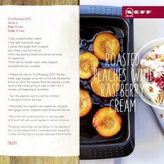 Love peaches? So do we which is why we created this moreish Roasted Peaches with Raspberry Cream dessert. #recipe