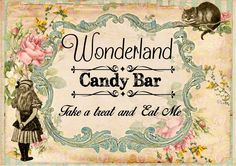 1 A3 Alice in Wonderland Candy Sweet Bar Sign Weddings,Party,Birthday,Decoration