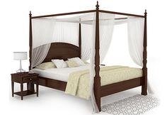 Vanesa Poster Queen Size Bed Without Storage (Walnut Finish)