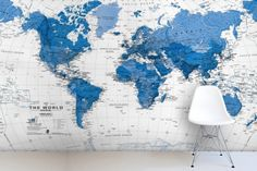 Blue and White World Map Mural