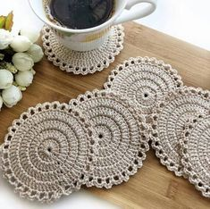 Items similar to Cotton Lace Doily, Round cup mat , Home Wedding Decor, Handmade Table Decoration, Crochet round coasters on Etsy Crochet Earrings Pattern, Crochet Coaster Pattern, Crochet Motif, Hand Crochet, Crochet Stitches, Knit Crochet, Crochet Patterns, Crochet Round, Crochet Home