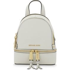 MICHAEL MICHAEL KORS Rhea extra-small saffiano leather backpack ($240) ❤ liked on Polyvore featuring bags, backpacks, backpack bags, saffiano leather bag, zipper bag, zip bag and initial bags