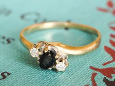 Art Deco Trilogy Diamond Ring, Vintage 9k Yellow Gold Diamond and Sapphire Ring, Journey Style Ring Band, Vintage Engagement Ring on Etsy, £110.84