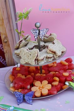 Butterfly sandwiches & fruit flowers