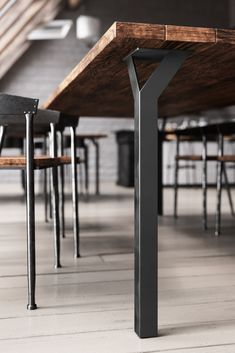 Table legs are essential to furnitures overall design. Besides the innovative design, the Y-Table Leg has a hollowed center that can be used as a cable manager! Metal Furniture Legs, Steel Furniture, Plywood Furniture, Cool Furniture, Modern Furniture, Furniture Design, Drawing Furniture, Luxury Furniture, Bedroom Furniture
