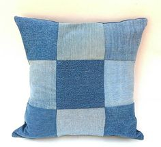 Nine Patch Denim Blue Jean Accent Throw Pillow by debupcycles