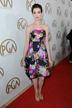 Anne Hathaway arrives at the 24th Annual Producers Guild (PGA) Awards at the Beverly Hilton Hotel on Saturday Jan. 26, 2013, in Beverly Hills, Calif.