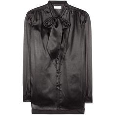 Balenciaga Silk Satin Blouse ($1,320) ❤ liked on Polyvore featuring tops, blouses, black, satin silk blouse, balenciaga and balenciaga top