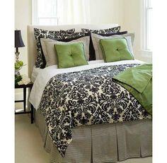 Black, cream & green bedroom idea
