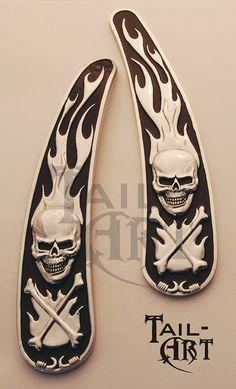 Skull Derby Cover Chrome 3-D for Harley Road King FLHR 1999-2014